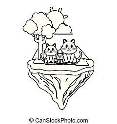line family cat animal in float island