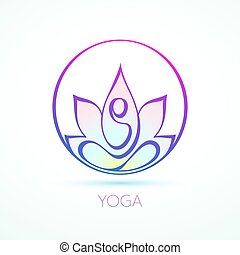 Line figure in lotus pose inside a circle for yoga and wellness