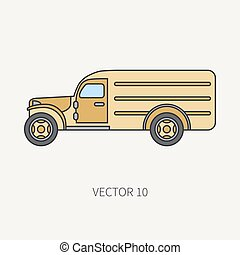 Line flat color vector icon service staff army van. Military all-terrain vehicle. Cartoon vintage style. Cargo transportation. Tractor unit. Tow auto. Simple. Illustration and element for your design.