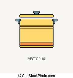 Line flat color vector kitchenware icons - pan, pot. Cutlery tools. Cartoon style. Illustration and element for your design. Equipment for food preparation. Kitchen. Household. Cooking. Cook. Set.