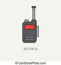 Line flat color vector military icon - radio set. Army equipment and weapons. Cartoon style. Assault. Soldiers. Armament. Ammunition. Vector illustration and element for your design and wallpaper.