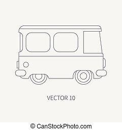 Line flat plain vector icon minibus taxi car. Commercial vehicle. Cartoon vintage style. Transportation. Traveling family van. Trip over long distance. Road. Illustration and element for your design.