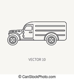 Line flat plain vector icon service staff army van. Military all-terrain vehicle. Cartoon vintage style. Cargo transportation. Tractor unit. Tow auto. Simple. Illustration and element for your design.
