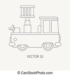 Line flat plain vector icon service staff car with hydraulic lift. Commercial vehicle. Cartoon vintage style. Cargo transportation. Maintenance. Tow auto. Illustration and element for your design.