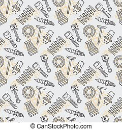 Line flat seamless background pattern with piston, filter, spark plug, spring, valve, bearing and light. Vector illustration texture for design, wallpaper. Auto service. Maintenance. Cartoon style.