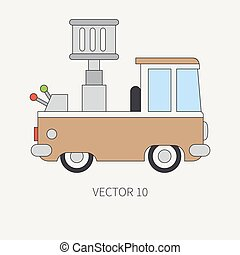 Line flat vector color icon service staff car with hydraulic lift. Commercial vehicle. Cartoon vintage style. Cargo transportation. Maintenance. Tow auto. Illustration and element for your design.