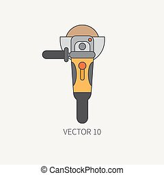 Line flat vector icon with building electrical tool angle grinder . Construction and repair work. Powerful industrial instrument. Cartoon style. Illustration and element for your design. Engineering.