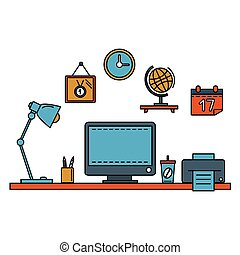 Line flat vector illustration workspace with desktop computer, work place, equipment in office interior.