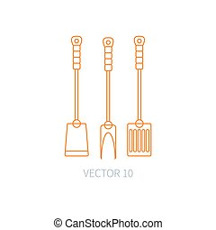 Line flat vector kitchenware icons fork, furcula, scapula. Cutlery tools. Cartoon style. Illustration and element for your design. Equipment for food preparation. Kitchen. Household. Cooking. Cook.