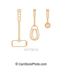 Line flat vector kitchenware icons - hammer, corolla, mixer. Cutlery tools. Cartoon style. Illustration and element for your design. Equipment for food preparation. Kitchen. Household. Cooking. Cook.