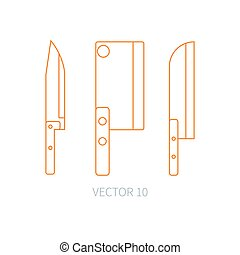 Line flat vector kitchenware icons knife, chopper, backsword. Cutlery tools. Cartoon style. Illustration and element for your design. Equipment for food preparation. Kitchen. Household. Cooking. Cook.