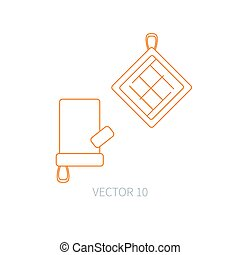 Line flat vector kitchenware icons - oven-glove. Cutlery tools. Cartoon style. Illustration and element for your design. Equipment for food preparation. Kitchen. Household. Cooking. Cook. Potholder.