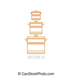 Line flat vector kitchenware icons - pan, pot. Cutlery tools. Cartoon style. Illustration and element for your design. Equipment for food preparation. Kitchen. Household. Cooking. Cook. Set.