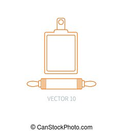 Line flat vector kitchenware icons plunger, cutting board. Cutlery tools. Cartoon style. Illustration and element for your design. Equipment for food preparation. Kitchen. Household. Cooking. Cook.