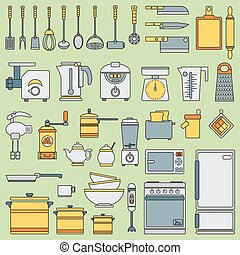 Line flat vector kitchenware icons set. Cutlery tools. Cartoon style. Illustration and element for your design. Equipment for food preparation. Kitchen. Household. Cooking. Cook. Collection.