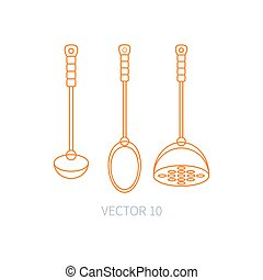 Line flat vector kitchenware icons - spoon, scoop, pestle. Cutlery tools. Cartoon style. Illustration and element for your design. Equipment for food preparation. Kitchen. Household. Cooking. Cook.