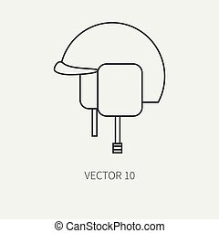 Line flat vector military icon - army helmet. Army equipment and weapons. Cartoon style. Army. Assault. Soldiers. Armament. Ammunition. Vector illustration and element for your design and wallpaper.