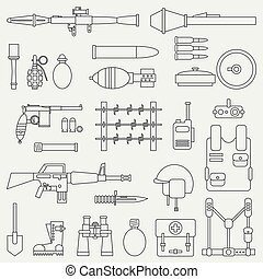 Line flat vector military icon set. Army equipment, weapons and armament. Cartoon style. Army. Assault. Soldiers. War. Retro. Ammunition. Vector illustration and element for your design and wallpaper.