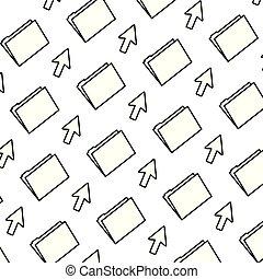line folder file with arrow cursor background