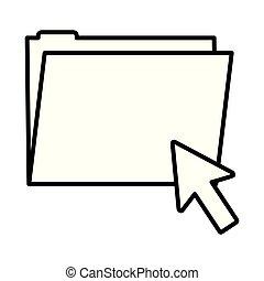 line folder file with arrow cursor mouse