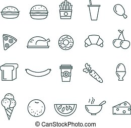 Line food icons set of 20