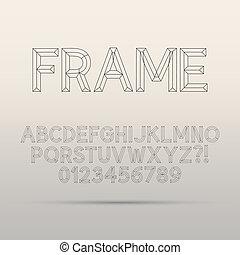 Line Framework Font and Digit