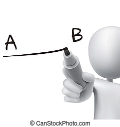 line from A to B drawn by 3d man - line from point A to B...
