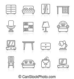 Line furniture and home equipment icons