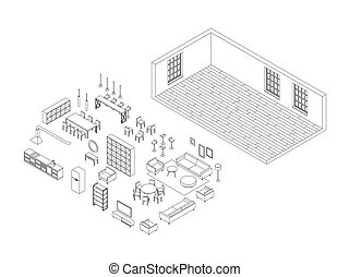 Line furniture set in isometric view