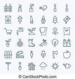 Line Gardening Tools Icons Set
