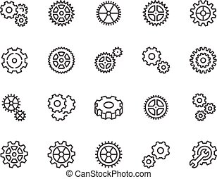 Line Gear Icons