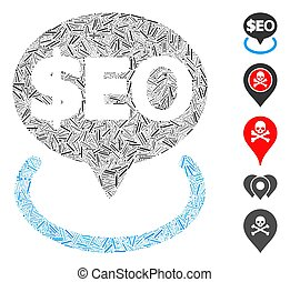 Line Geotargeting Seo Icon Vector Collage - Linear mosaic ...