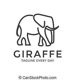 Line giraffe logo design template