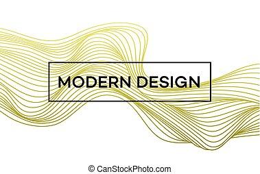 Line golden wave on white background. Vector illustration...