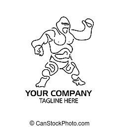 Line gorilla logo. flat design. Gorilla silhouette. Vector Illustration on white background