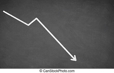 Line graph showing a downward trend. White chalk on...