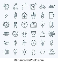 Line Green Energy Eco Icons Set. Vector Set of Modern Thin...