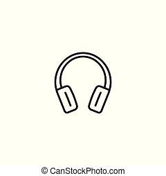 line headphones thin icon on white background