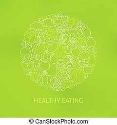 Line Healthy Eating Icons Circle Concept