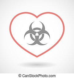 Line heart icon with a biohazard sign