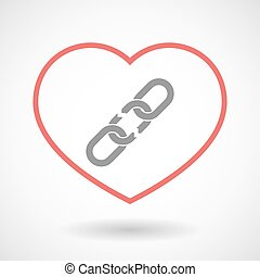 Line heart icon with a broken chain