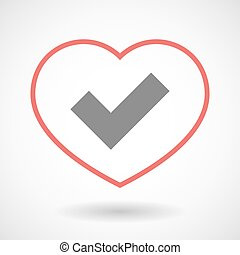 Line heart icon with a check mark