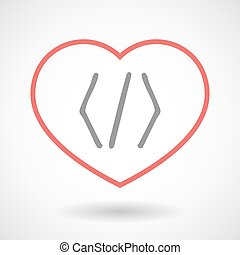 Line heart icon with a code sign