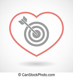 Line heart icon with a dart board