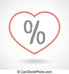 Line heart icon with a discount sign