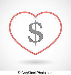 Line heart icon with a dollar sign