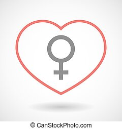 Line heart icon with a female sign
