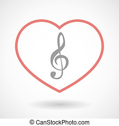 Line heart icon with a g clef