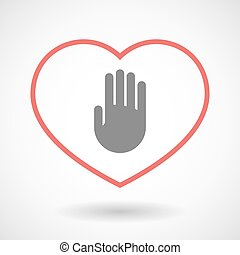Line heart icon with a hand