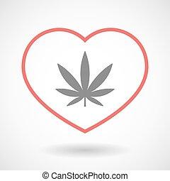 Line heart icon with a marijuana leaf